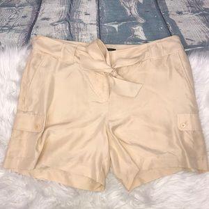 NWT Talbots beige women's cargo silk shorts 10P